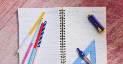notebook protractor pencils
