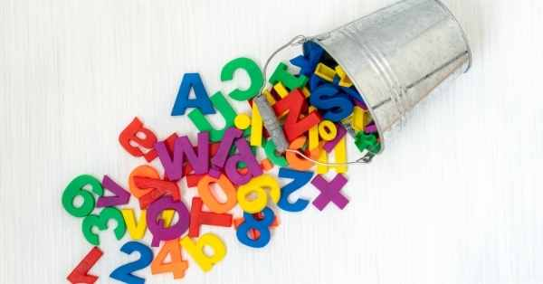 alphabet letters and bucket