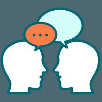 two people communicating speech bubbles